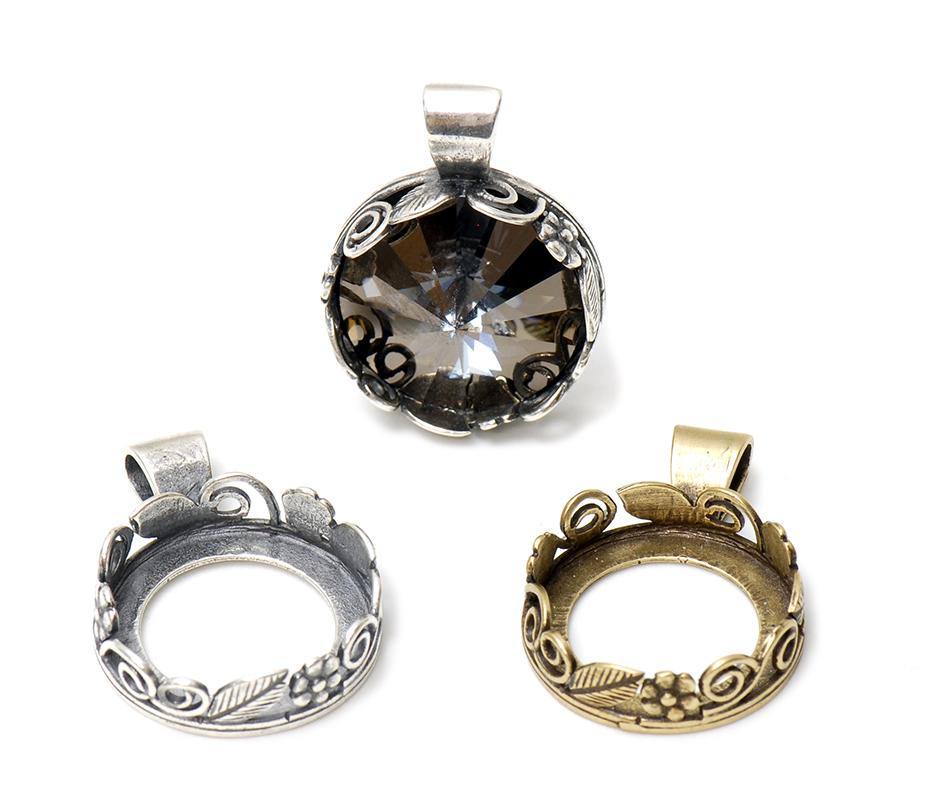16mm round rivoli bezel pendant findings and components 16mm round rivoli bezel pendant mozeypictures Image collections