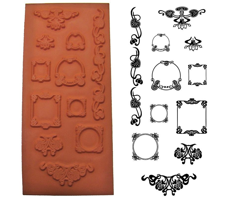 Art Nouveau Frames Metal Clay Stamp Set   PMC Stamps and Tools ...